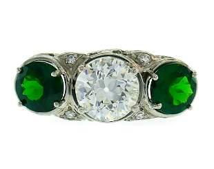Art Deco Emerald Diamond Platinum RING Diamond Old
