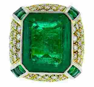 Vintage 10.83-ct Emerald Diamond Yellow Gold RING