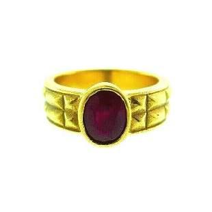 MODERN Carl Greve 20k Yellow Gold & Ruby Ring