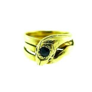ANTIQUE 18k Yellow Gold & Sapphire Snake Ring Circa