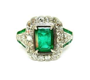Art Deco 10k White Gold Emerald Diamond Ring