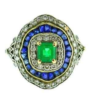 Vintage 18k Yellow Gold Emerald Sapphire Diamond Ring