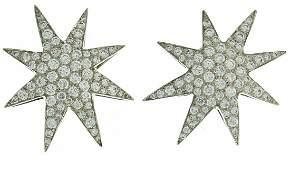 OSCAR HEYMAN Diamond Platinum EARRINGS Star Clip-on