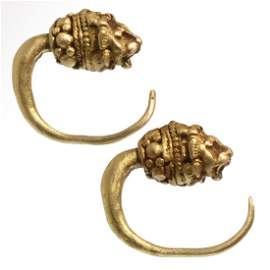 Greek Gold Earrings with Lion Heads, 3rd-2nd Century