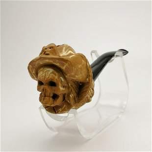 Cavalier Skull,Hand carved Meerschaum Pipe