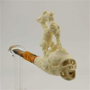 Skull and Dragon,Hand carved Meerschaum Pipe