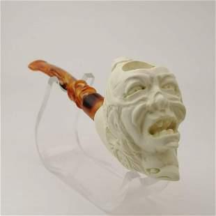 Samurai Warrior,Hand carved Meerschaum Pipe.
