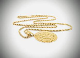 1K Gold Roped Necklace & Pendant