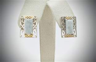 925 SS Jade w Gold Plated Checkered Pattern Earrings