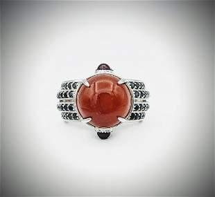 925 SS Sz 7 Ring w Jasper, Red Garnet & Black Diamonds