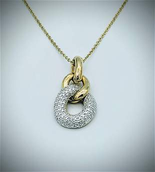 Gold Plated Necklace w Chain Linked Diamond Pendant
