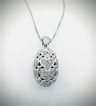 Italian Sterling Silver Necklace & Harmony Ball Diamond