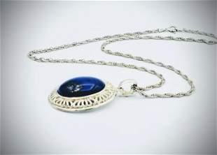 Italian Sterling Silver Necklace w Lapis Lazuli Pendant
