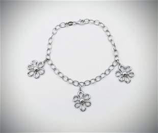 Italian Sterling Silver Three Flower Charm Bracelet