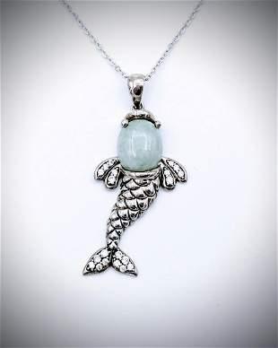 Necklace & Koi Fish Pendant w Jade & CZs