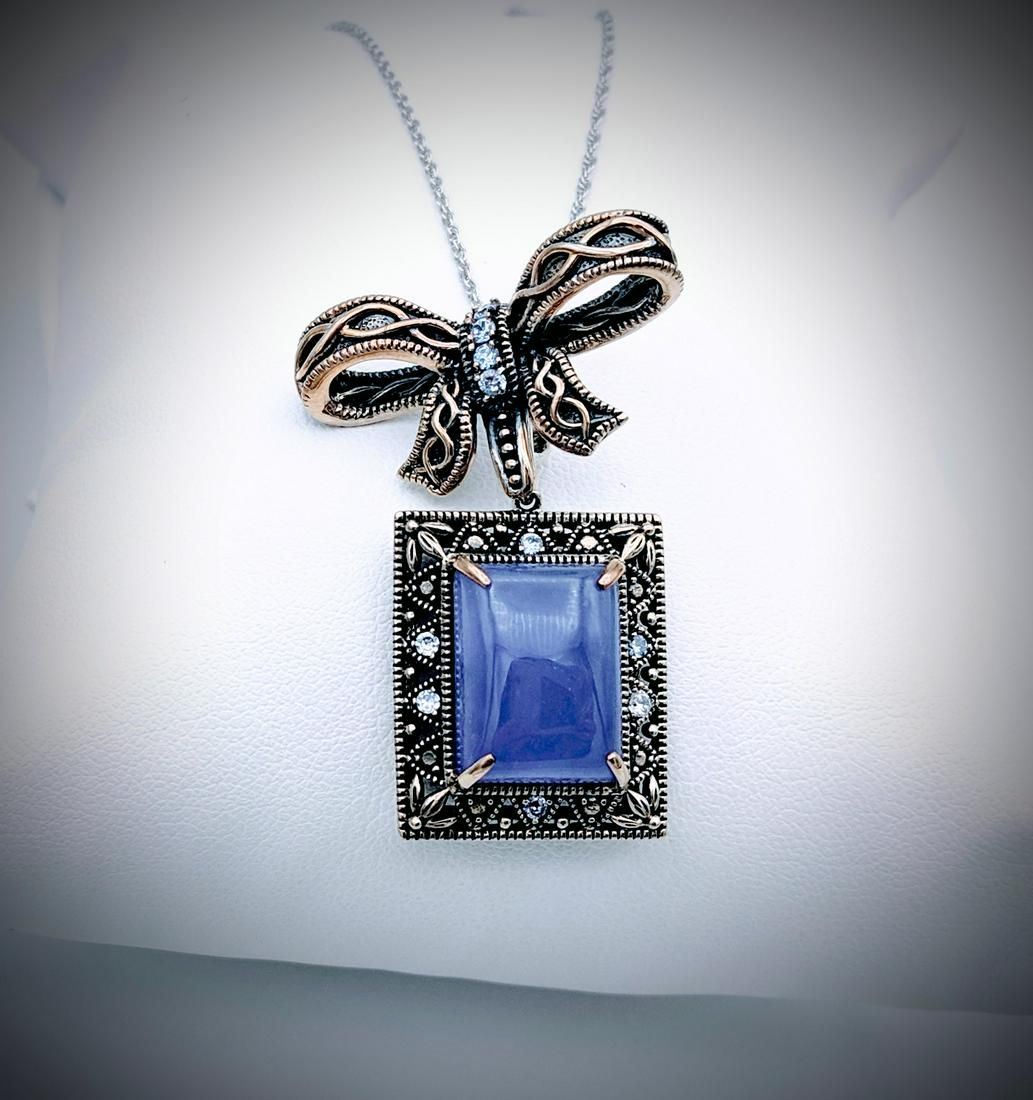 Necklace w Bow Designed Violet Jade & CZ Pendant