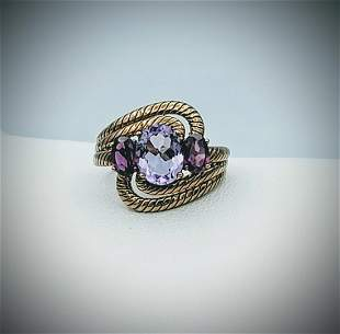 Rose Gold Plated Sz 7 Amethyst Ring