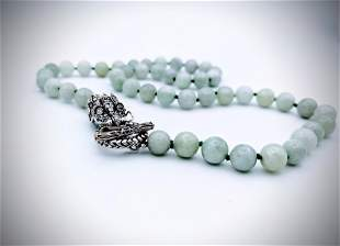 Sterling Silver Beaded Jade Dragon Necklace w CZs