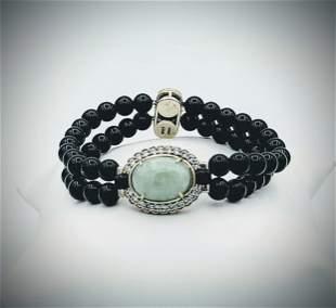 Sterling Silver Black Onyx Beaded Bracelet w Jade &