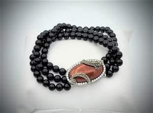 Sterling Silver Black Onyx Beaded Bracelet w Jasper &