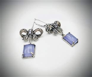 Sterling Silver Bow Designed Earrings w Amethyst &