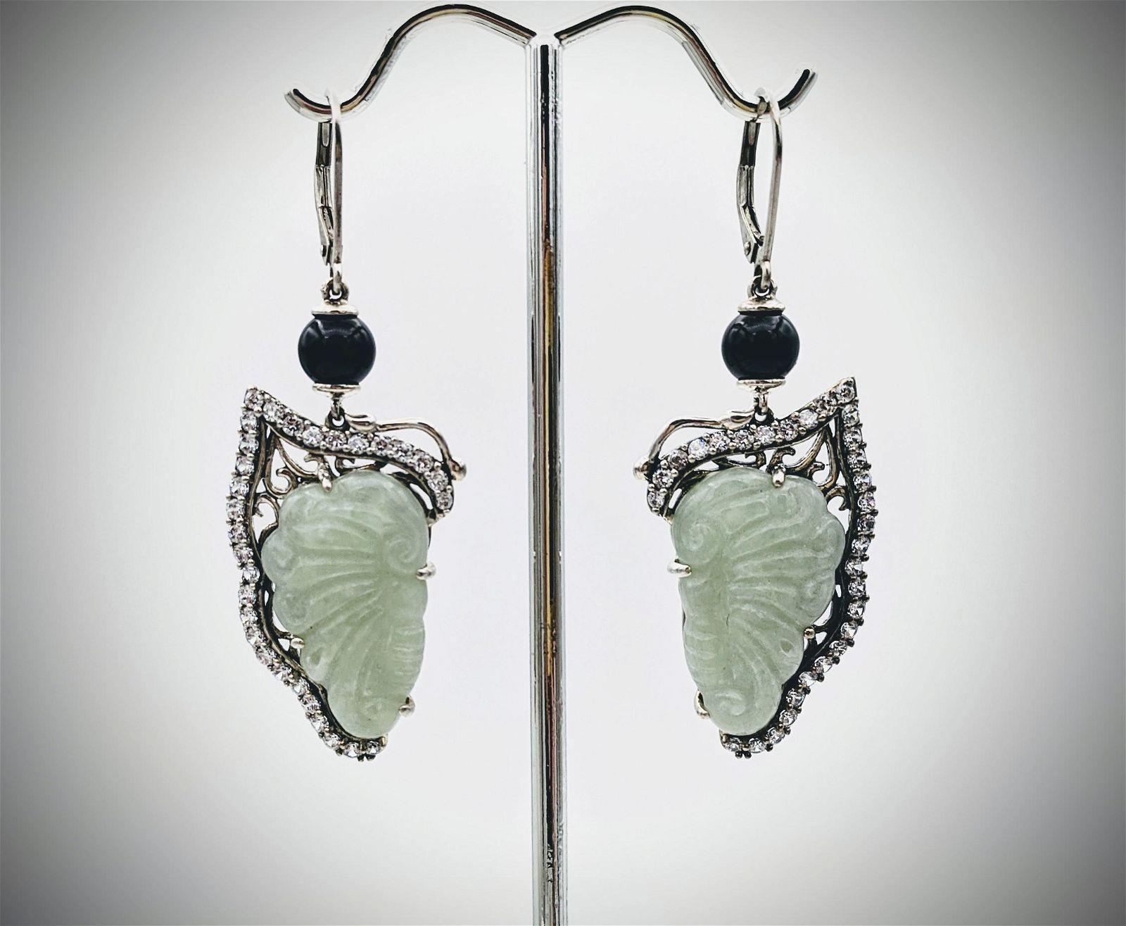 Sterling Silver Butterfly Wings w Jade, CZs & Black