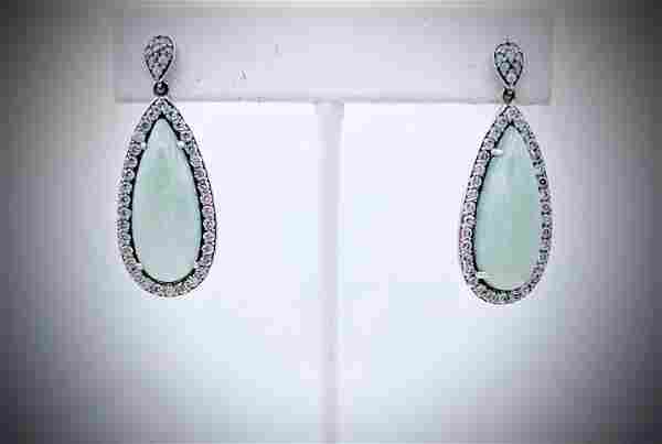 Sterling Silver Cocktail Jade Halo Earrings w CZ