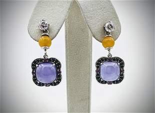 Sterling Silver CZ Stud Earrings w Yellow Jadeite,