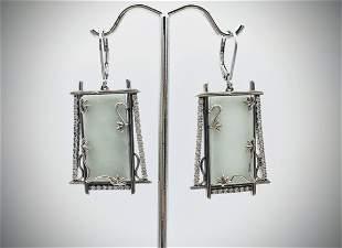 Sterling Silver Dangly Jade Earrings w Cubic Zirconia
