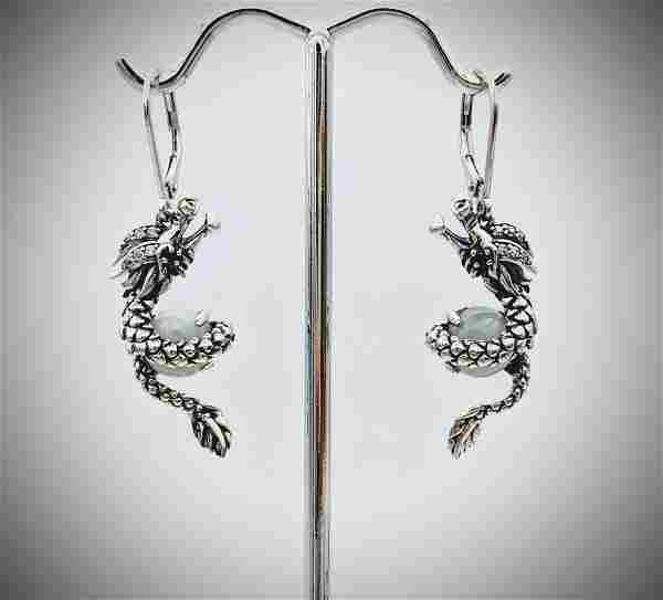 Sterling Silver Dragon Earrings w Jade, Garnet & CZ