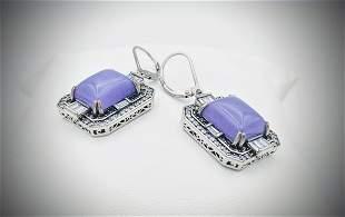 Sterling Silver Earrings w Black Diamonds, Violet Jade