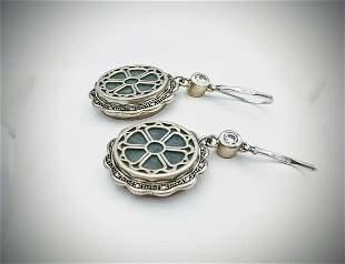 Sterling Silver Earrings w Jade, Black Onyx & CZs