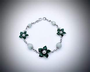 Sterling Silver Flower Design Jade & CZ Bracelet