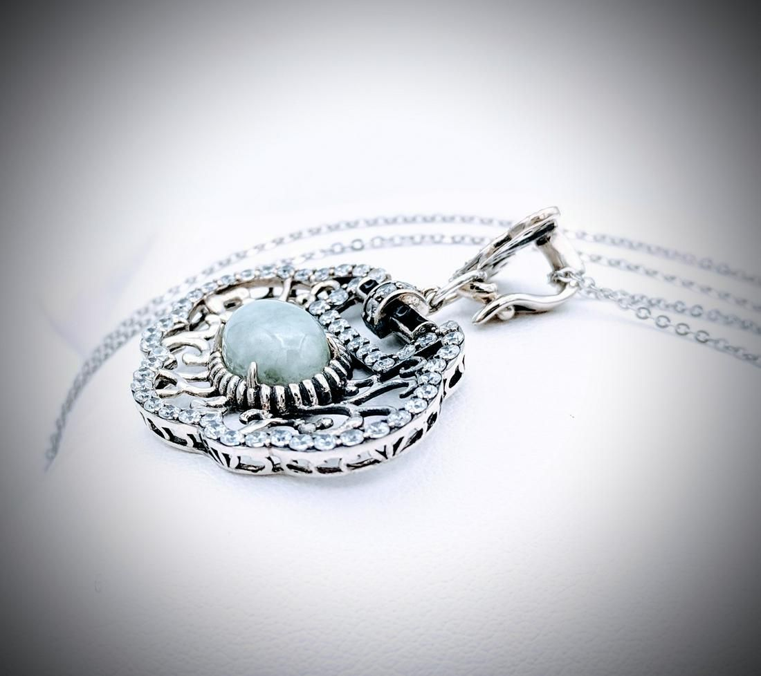 Sterling Silver Jade & CZ Necklace w Black Enamaling