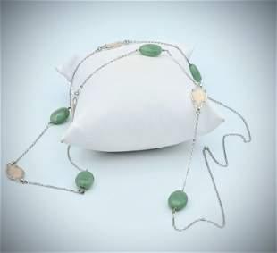 Sterling Silver Jade & Rose Quartz Necklace