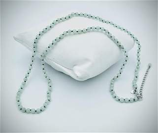 Sterling Silver Jade Beaded Necklace