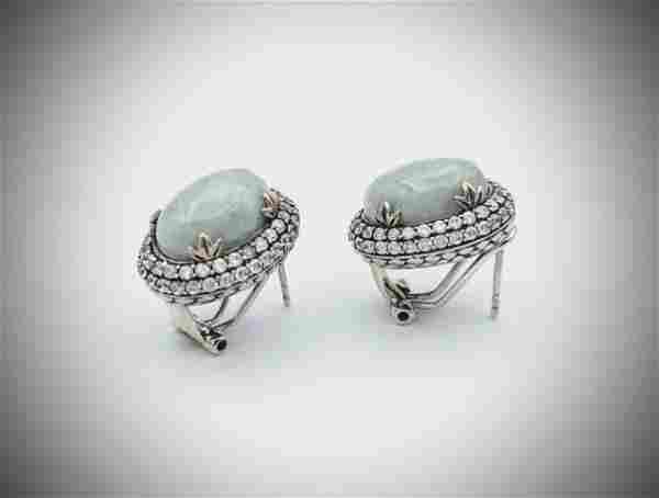 Sterling Silver Jade Double Halo Earrings w CZs