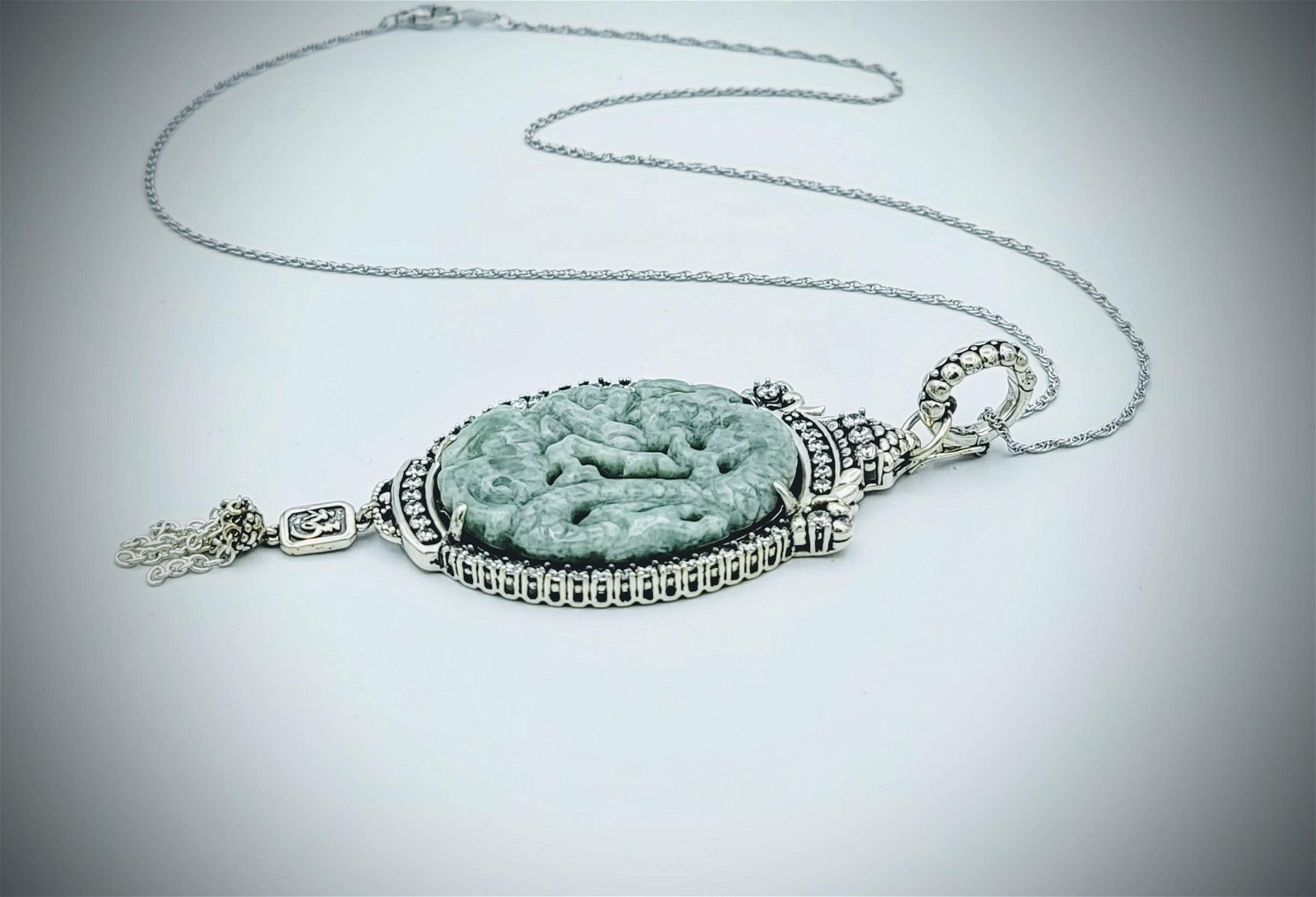 Sterling Silver Jade Engraved Dragon Necklace