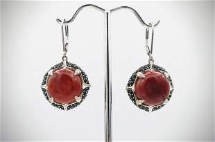 Sterling Silver Jasper & Black Diamond Earrings