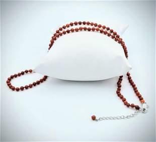 Sterling Silver Jasper Beaded Necklace