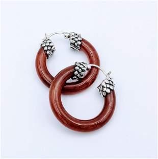 Sterling Silver Jasper Hoop Earrings