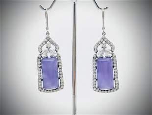 Sterling Silver Leaf Backed Violet Jade Earrings w CZs