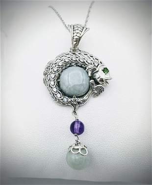 Sterling Silver Necklace & Koifish Pendant w Jade,