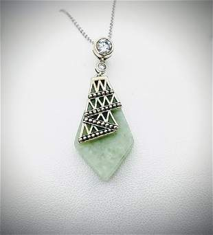 Sterling Silver Necklace & Pendant w Jade & Cubic