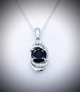 Sterling Silver Necklace w Almandine Garnet & CZ