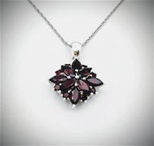 Sterling Silver Necklace w Clustered Garnet Pendant