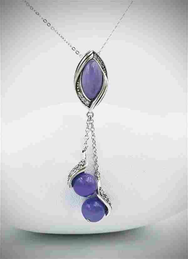 Sterling Silver Necklace w Marquis Violet Jade, Dangly