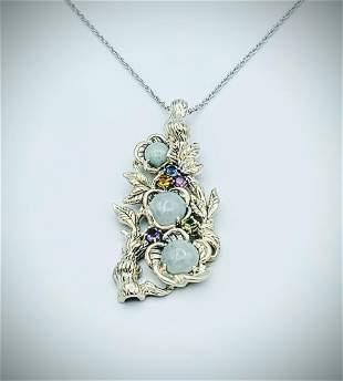 Sterling Silver Necklace w Multicolored Gemstone & Jade
