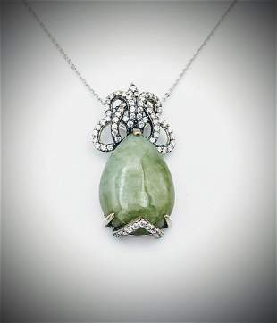 Sterling Silver Necklace w Pear Shaped Jade & CZ