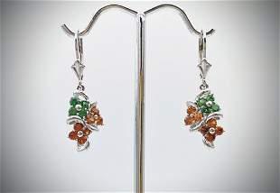 Sterling Silver Orange Citrine & Tourmaline Earrings